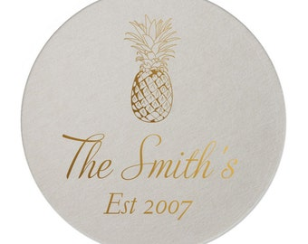 Pineapple Personalized Coasters - Housewarming Gift - Hostess Gift - Welcome Gift