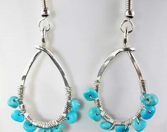 Turquoise Earrings, Turquoise Dangle Earrings, Turquoise Drop Earrings, Hoop Earrings, Silver Turquoise Earrings, Arizona Turquoise, Summer