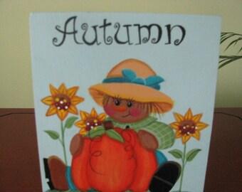 Scarecrow, pumpkin, sunflowers, fall, shelf sitter, autumn, block, handpainted