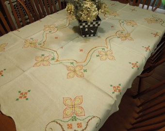Vintage Off White Kitchen Dining Luncheon Tablecloth with a colorful cross stitch design for kitchen, dining, housewares by MarlenesAttic