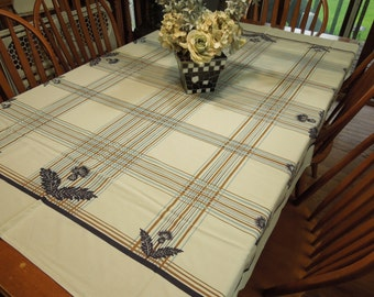 Vintage White with Blue and Brown Floral Printed Kitchen Dining Luncheon Table Cloth for housewares, home decor, linens by MarlenesAttic
