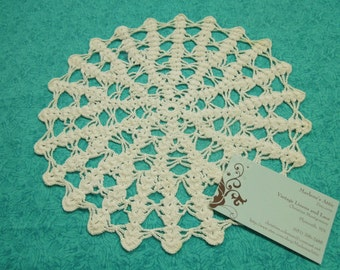Vintage 10 inch White hand crochet doily for crafts, housewares, kitchen, dining, home decor by MarelenesAttic