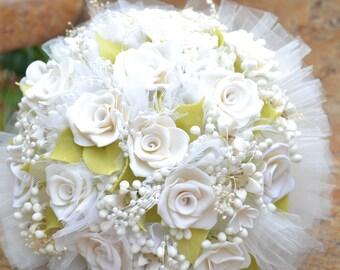 Wedding Bride Bouquet made with Wax - Ramo de Azahares - White Tulle with Satin handle