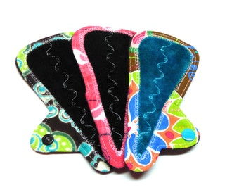 "NEW 6"" Tiny Thong Cloth Pads - Set of 3 - Customize Your Fabrics, Flow Level and Backing Fabrics - Trojacek Farms"