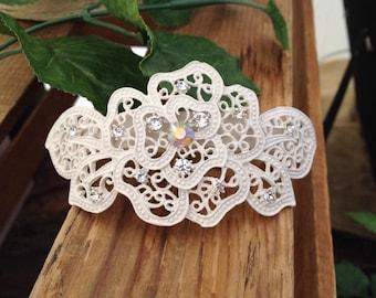 Beautiful Cream Filigree Floral Metal Bridal Hair Clip Barrette