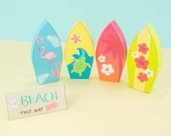 Surfboard Printable Favor Boxes, Printable PDF Surfboard Gift Boxes, Beach Themed Party Favors, Hawaiian Party Favors