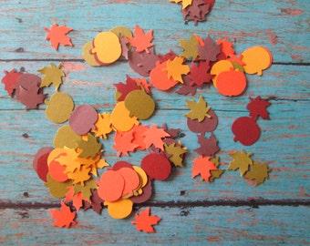Mini Fall Colored Leaves and Pumpkins Confetti - Fall Confetti, Fall Colors, Harvest, Thanksgiving,Mini Table Confetti, Fall in Love