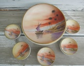 Hand Painted Nippon Bowl Footed Master Nut with Serving Bowls with Scenic Painting