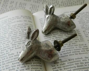 pair of woodland deer drawer pulls / knobs / hardware