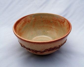 Light green and Copper Stoneware Ceramic bowl