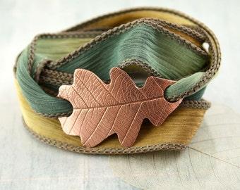 Copper Oak Leaf Bracelet - Silk Ribbon Wrap in Woodland Colours