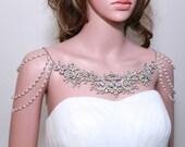 Vintage Wedding Back Drop Bridal Shoulder Necklace, 3 Draping Faux Pearl Chain Rhinestone Crystal Bridal Epaulettes Wedding Shoulder Jewelry