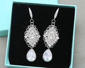 Cubic Zirconia Dangle Earrings, Vintage Chandelier Rhinestone Crystal Earrings, Wedding Hook Earrings, Bridal Earrings, Bridesmaids Gift
