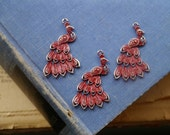 6 pcs Red Patina Painted Peacock Pendant Charms 62mm Can Hold Rhinestones 38mm (SC2518)