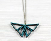 Origami Butterfly petrol necklace wood
