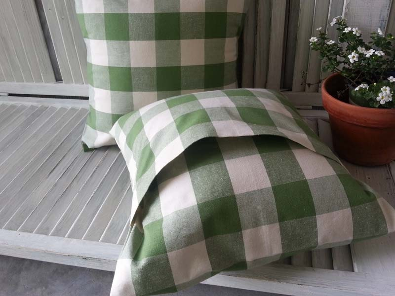 Set Of Two 16 X 16 Buffalo Check Green And White Pillow