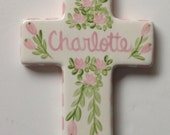 Custom personalized Pink floral cross