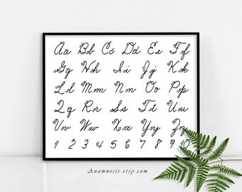 CURSIVE WRITING ALPHABET - digital download - printable antique illustration retooled by Anamnesis - image transfer - totes, pillows, prints