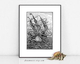 Octopus - KRACKEN PRINT in BLACK- digital download - printable ocean monster illustration for prints, totes, clothes, cards, pillows etc.
