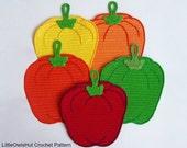 070 Sweet peppers potholder or decor - Amigurumi Crochet Pattern PDF file by Zabelina Etsy
