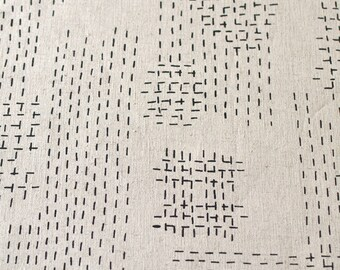 Sashiko in Velvet Black : organic linen/organic cotton handprinted fabric panel
