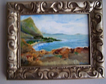 Hawaii painting, Windward Crescent, North shore, Oahu, 10x12, original oil on canvas board