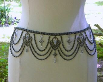 Holiday sale....Darkest Sparkle Chain Belt