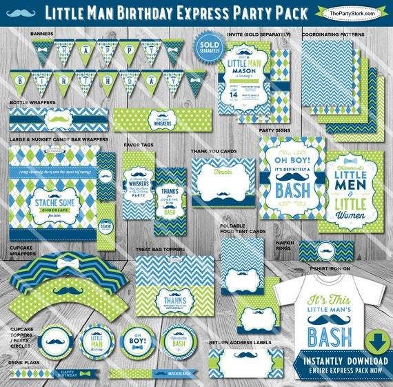Mustache Birthday Party Decorations Printable Little Man Themed