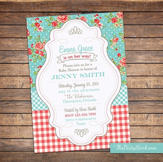shabby chic baby shower invitation floral digital printable baby