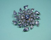 Elegant Pale Blue Rhinestone Brooch, Silver Tone, Classic Vintage