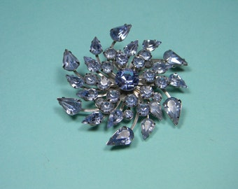 Pale Blue Rhinestone Brooch, Silver Tone, Classic Vintage Elegant