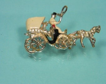 Horse and Carriage Brooch, Enamel and Rhinestone Vintage Figural