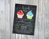 Gender Reveal Cupcake Baby Shower Invite - Printable