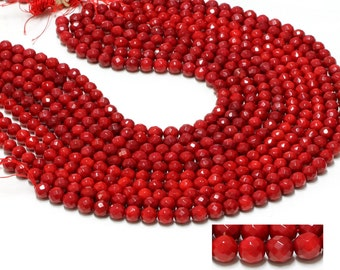 "GU-26210-3 - Red Coral Faceted Round Beads - 6mm - Gemstone Beads - 16"" Full Strand"