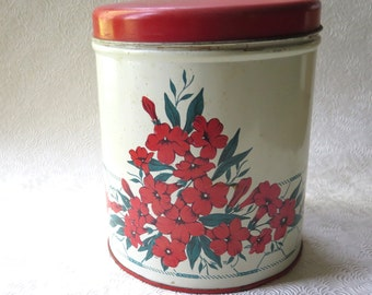 Canister Tin Red Green Vintage Forties Kitchen Colorware 1940s Floral Scene Container Storage Cottage Chic