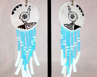 "Shoshone Native Hand Made and Painted Quail Beaded ""Dentillium"" Shell Dangle Earrings"