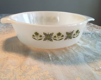 Vintage Fire King Green Meadow One Quart Casserole Dish / Anchor Hocking Glass Ovenware