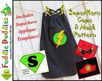 Superhero Cape Pattern, Superhero Costume Pattern. Halloween. INSTANT DOWNLOAD. Mask and Headband. Iron-on Appliques.