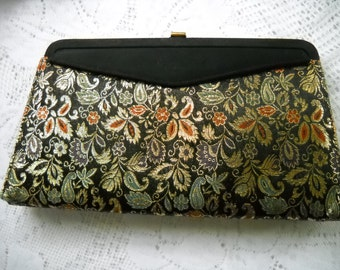 Vintage Purse with removable Cover, Tapestry and Black Satin, Convertible Purse, 2 Handbags in 1, Retro Evening Bag, Black Clutch