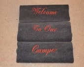 Personalized Rv step covers in Grey 23 in wide 22.00 per step cover this listing shows 3