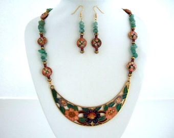 Bib Necklace Pink Flower Necklace Chinese Jewelry Cloisonne Enamel Teal Green Aventurine Stone Necklace Beaded Drop Earrings