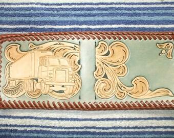 mens custom wallet / billfold, western truckers wallet  (231)