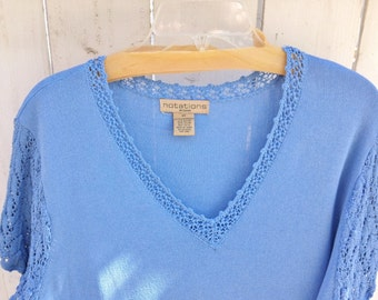Beautiful Womens Vintage Plus Size 2X By Notations Blue Sweater Tee Lacy