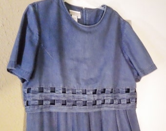 Women's Fabulous ColdWater Creek Vintage Denim Long Dress Size XL Lattice