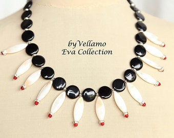 Black red white statement bib necklace with mother of pearl marquis beads, onyx, stones, Swarovski spacers, elegant summer necklace