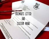 Harry Potter Kit Hogwarts letter, custom wand, ticket Platform 9 3/4, Ministery of Magic letter delayed option