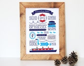 Narrowboat Rules Typographic // Canal Print // Holiday // Vacation // Narrow Boat // Boat Gift // Bathroom Wall Art // Windlass // Nautical
