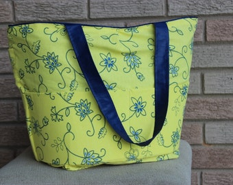 Floral Swirls Yellow and Blue Tote