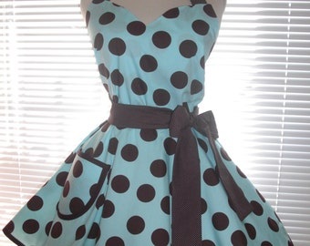 1950's Retro Apron Brown Dots on Lovely Aqua Blue with an Extra Full Circular Flirty Skirt
