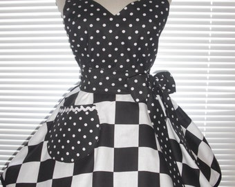 Retro Diner Apron Bold Black and White Checkered Paired with Black Polka Dots Circular Flirty Skirt